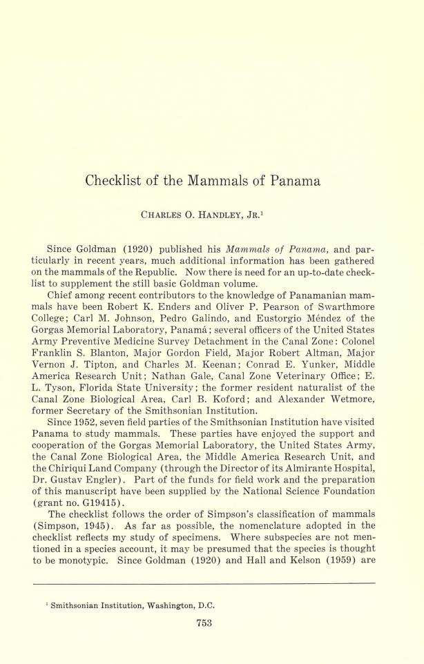 Checklist of mammals of Panama