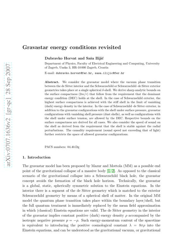Dubravko Horvat - Gravastar energy conditions revisited