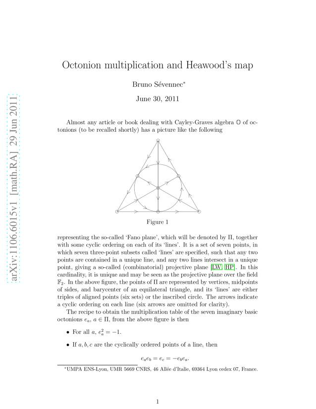 Bruno Sévennec - Octonion multiplication and Heawood's map