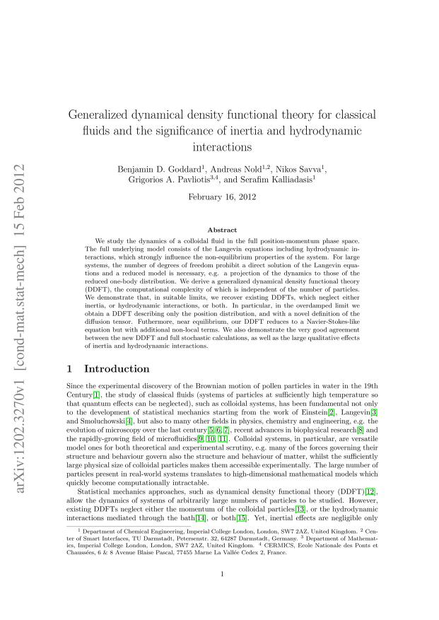 Benjamin D. Goddard - Generalized dynamical density functional theory for classical fluids and the significance of inertia and hydrodynamic interactions