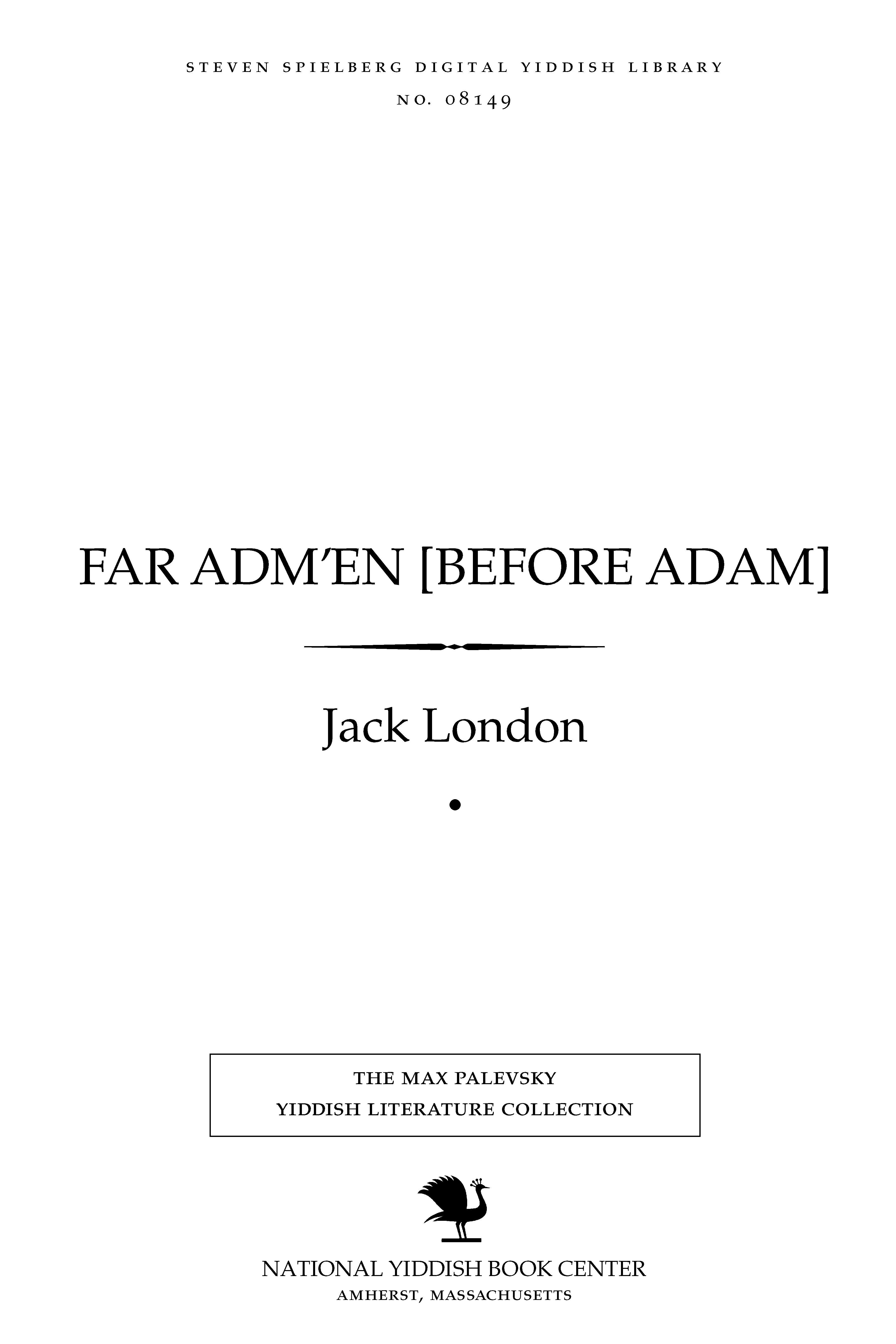 Cover of: Far Adm'en [Before Adam]